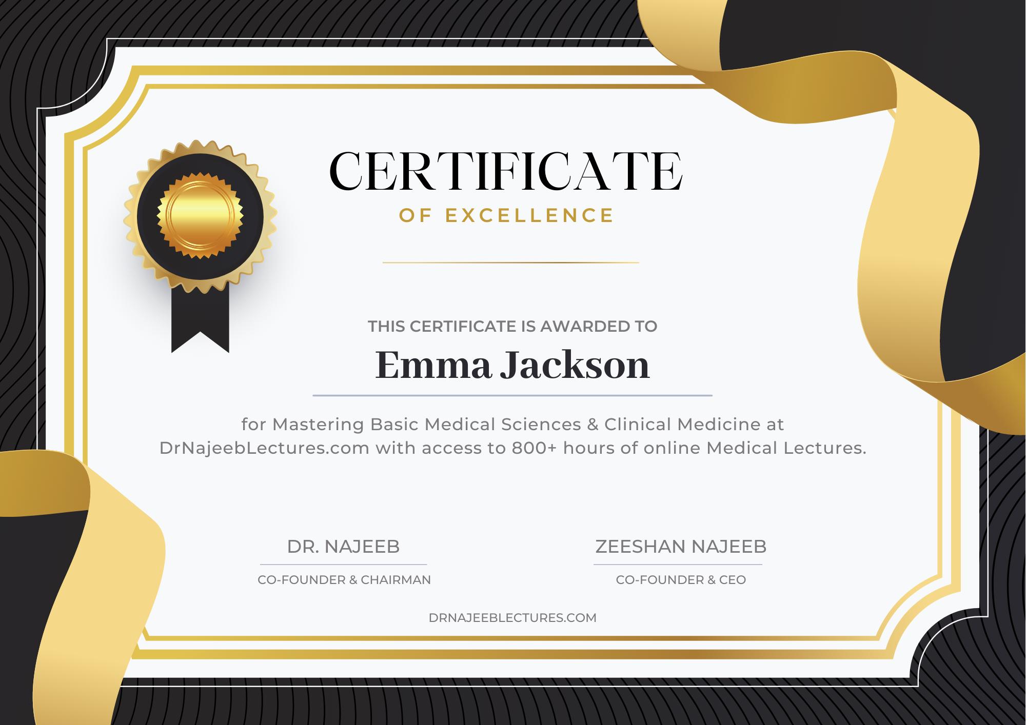 dr najeeb certificate